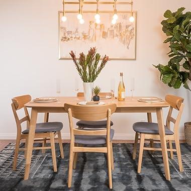 GDFStudio 299294 Helen Mid Century Fabric & Wood Finish 5 Piece Dining Set (Oak/Dark Grey),
