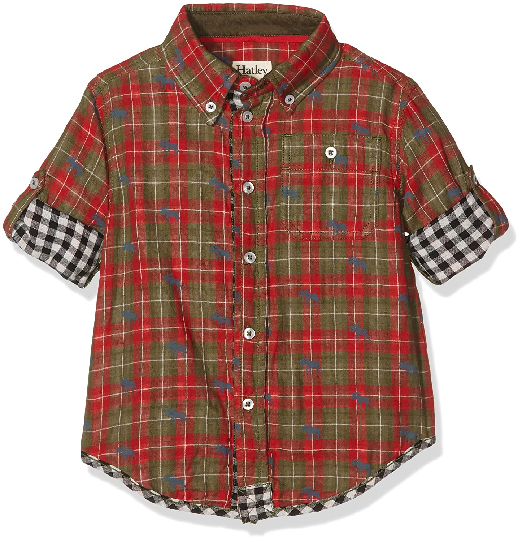 Hatley Boys' Moose Plaid Bonded Oxford Shirt