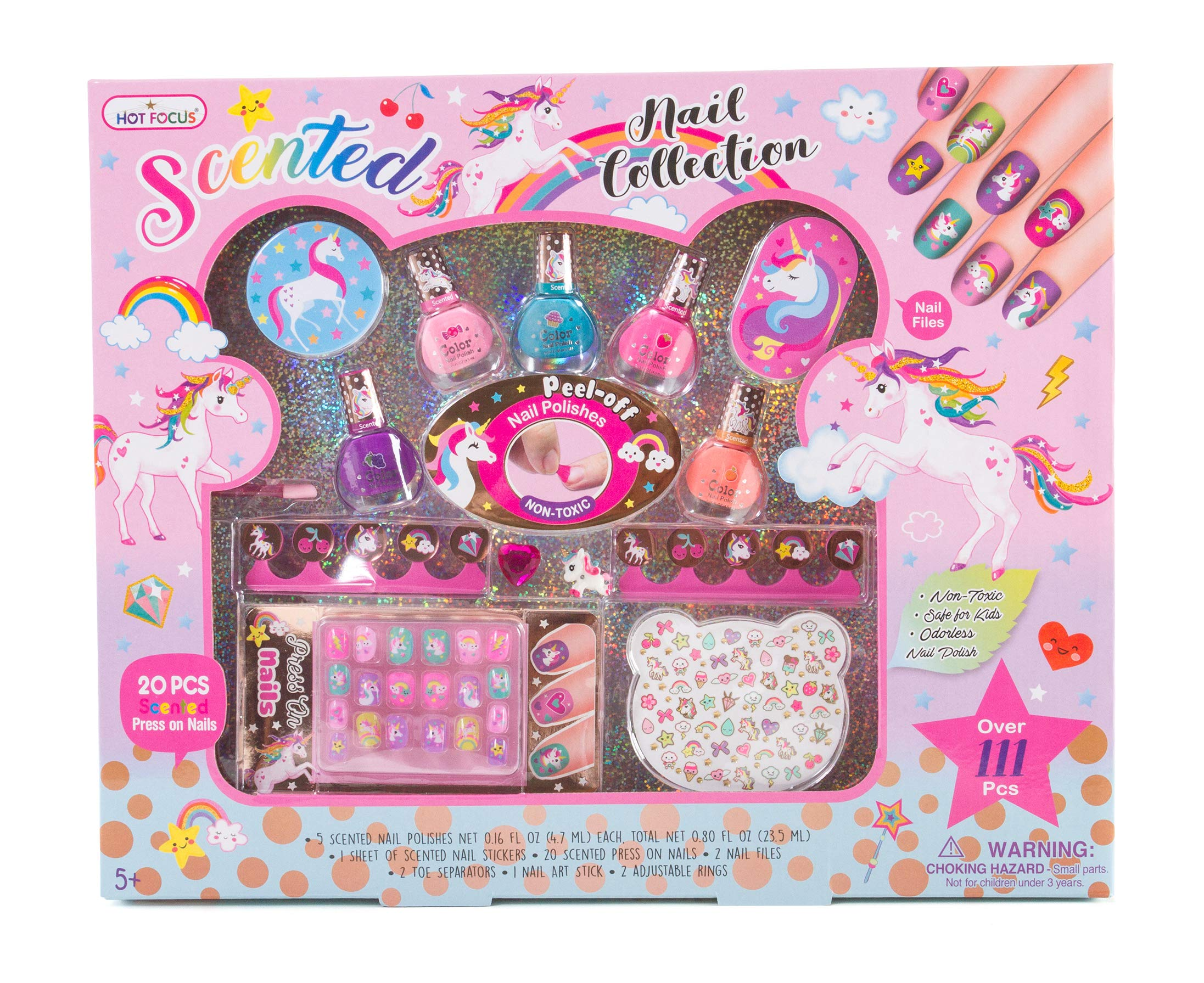 Hot Focus Unicorn Nail Art Gift Set – 112 Piece Scented Girls Nail Kit Includes Press On Nails, Nail Polishes, Toe Separators and More – Non-Toxic Water Based Peel Off Nail Polish 3