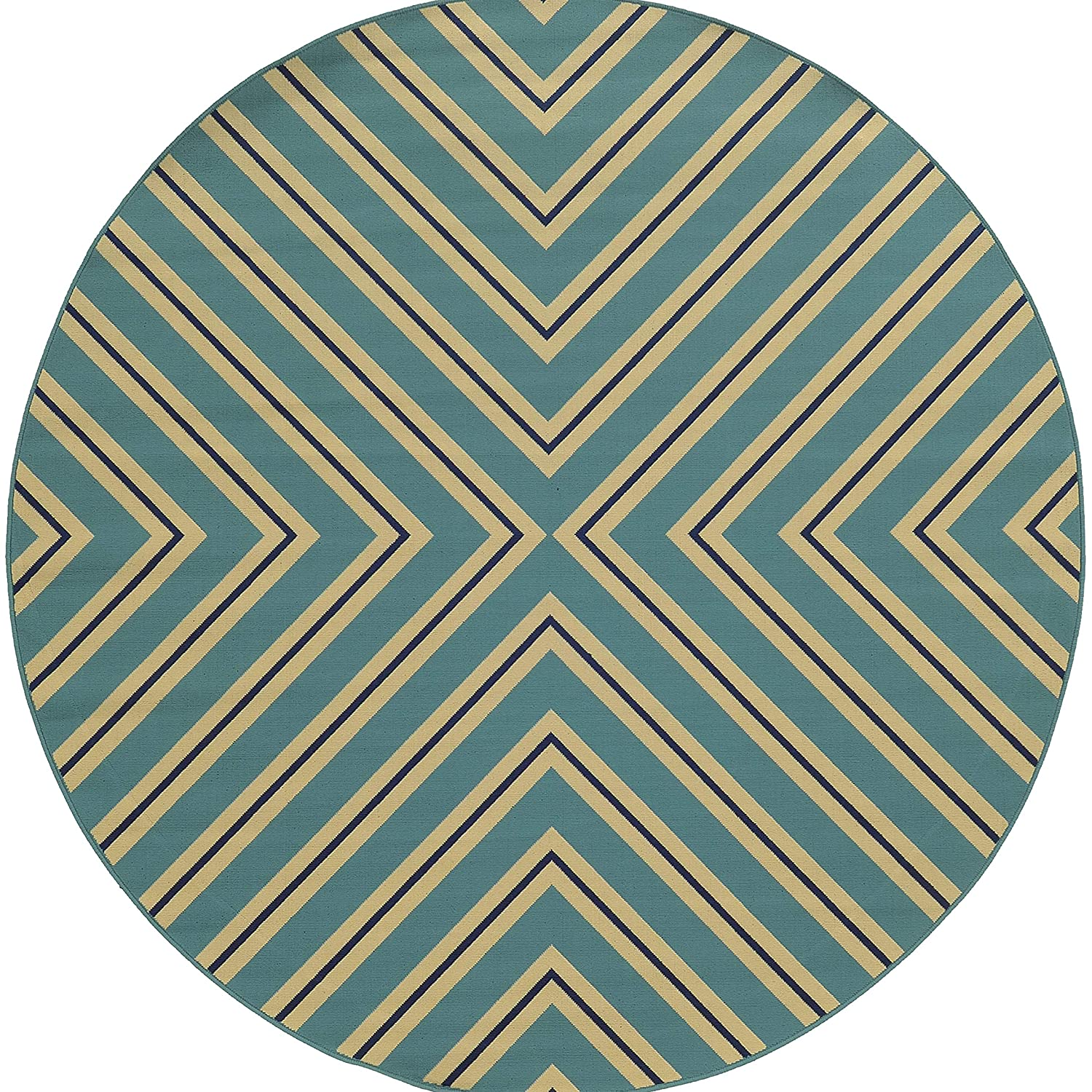 Christopher Knight Home CK-J9854 Lacosta Indoor//Outdoor Area Rug 710Round Blue,Ivory