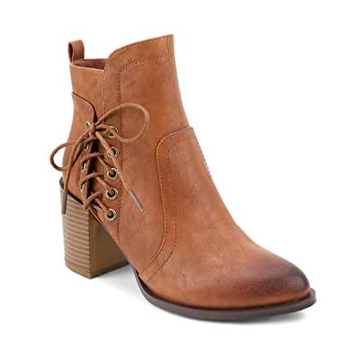 East Village' Side Lace Grommets Chunky Heel Ankle Booties