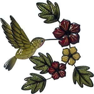 """The Creative Critters Hummingbird with Green Flowers Wall Decor- Gift Idea -3D Metal Design - Hand-Painted – 18"""" x 15"""" – Farmhouse or Home Decoration - Indoor or Outdoor Display"""