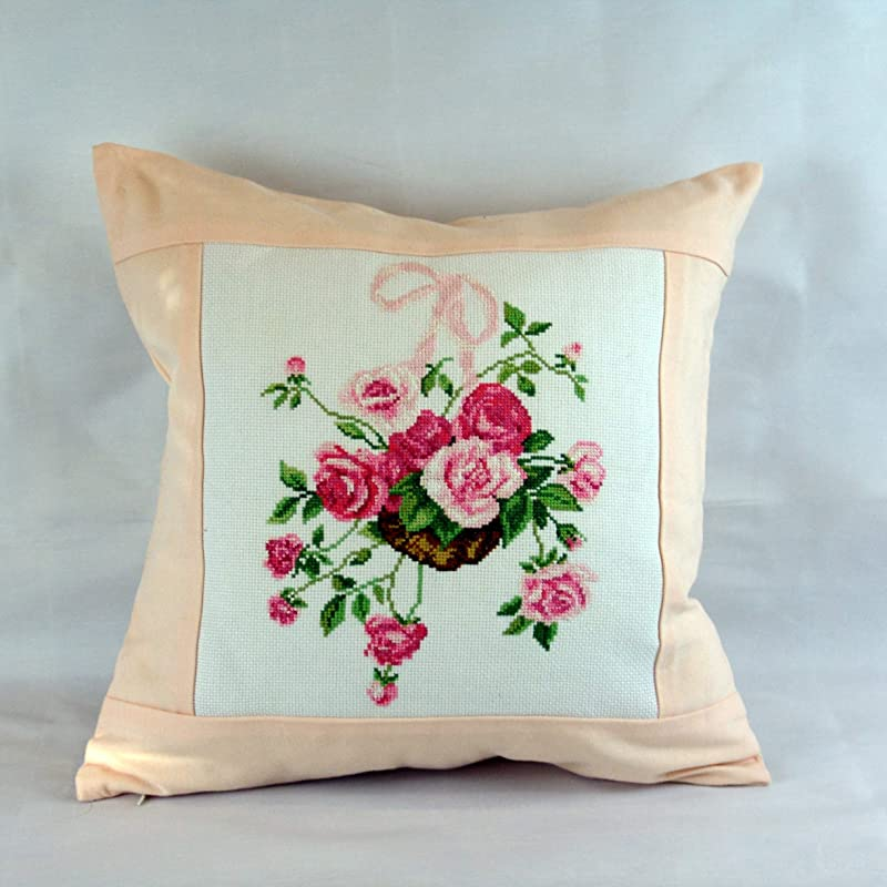 Pale pink rose Traditional hand made Hungarian embroidered pillow case fast Fedex shipping