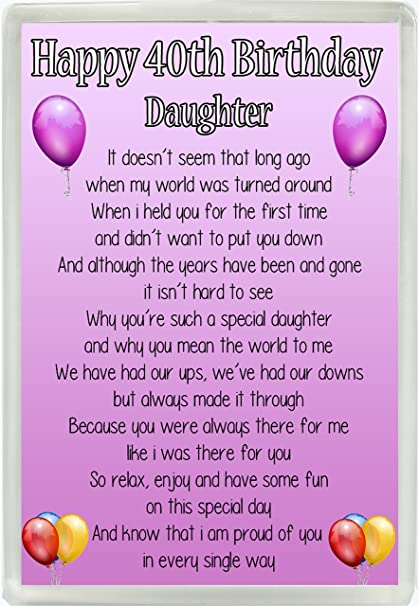 Happy 40th Birthday Daughter Poem Jumbo Fridge Magnet Ideal Keepsake Gift M15 Amazoncouk Kitchen Home