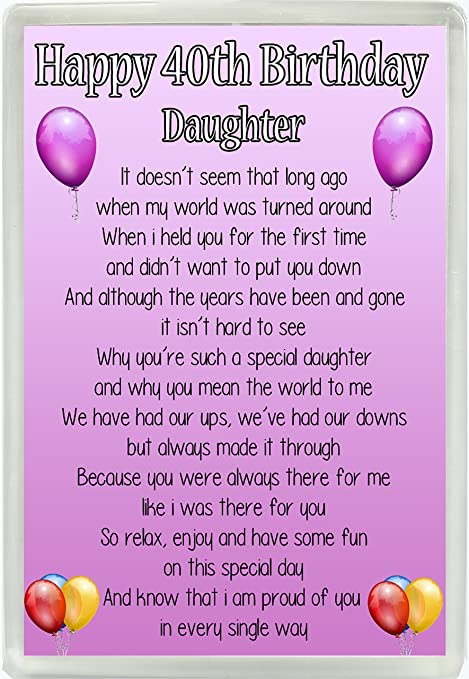 Happy 40th Birthday Daughter Poem Jumbo Fridge Magnet Ideal Keepsake Gift M15 Amazoncouk Kitchen Home