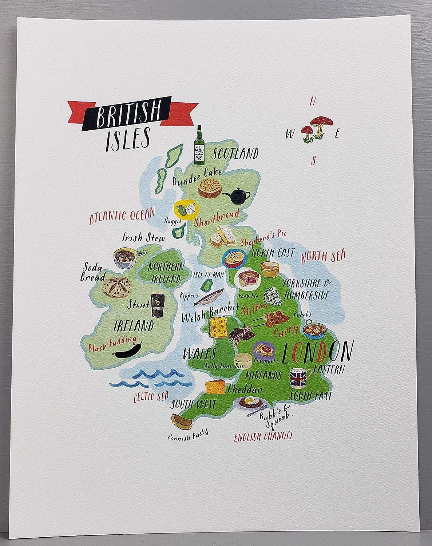 Nancy Nikko British Isles Food Map, Food Regions of The United Kingdom, 8 1/2 x 11