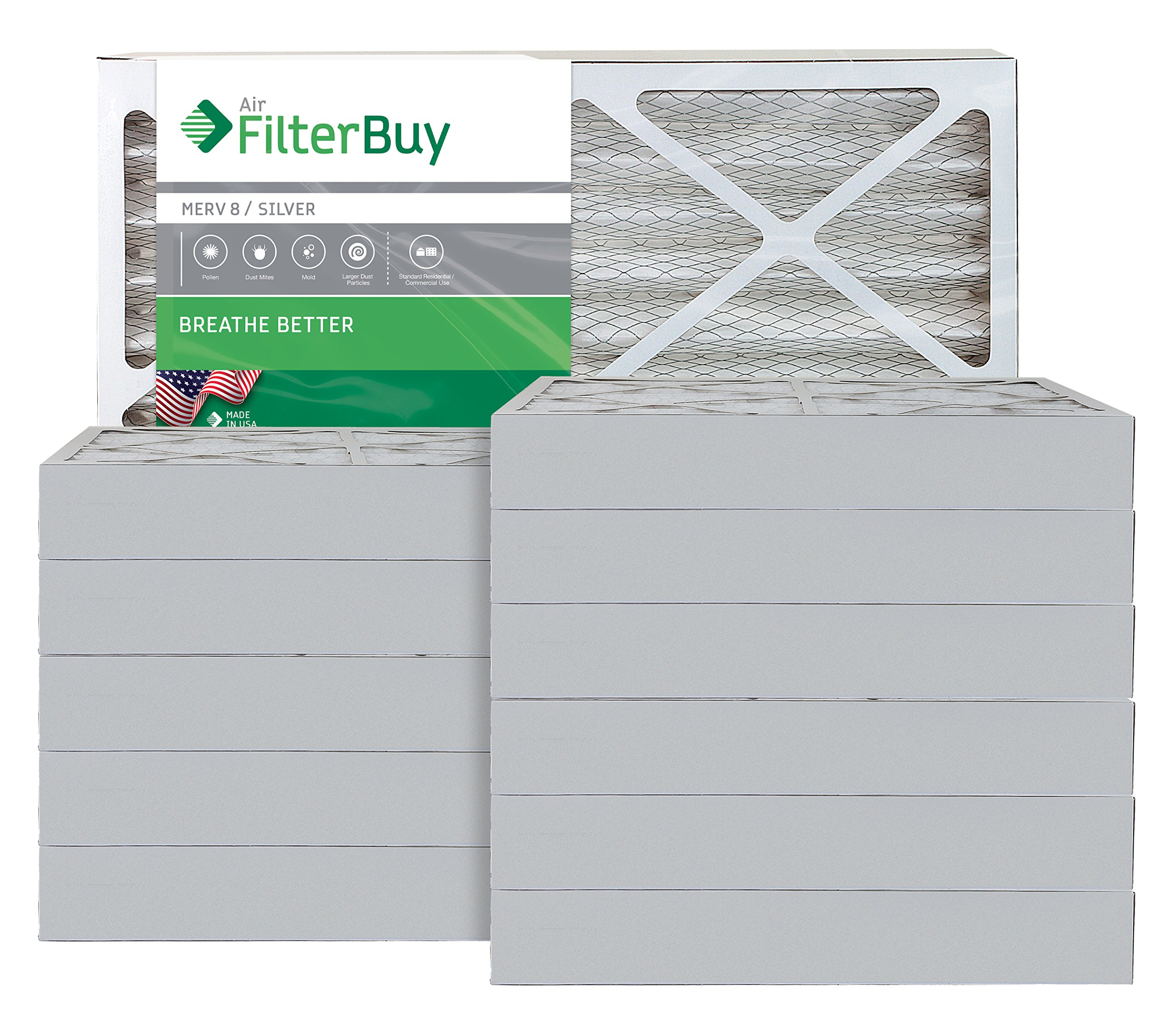 AFB Silver MERV 8 20x25x4 Pleated AC Furnace Air Filter. Pack of 12 Filters. 100% produced in the USA.