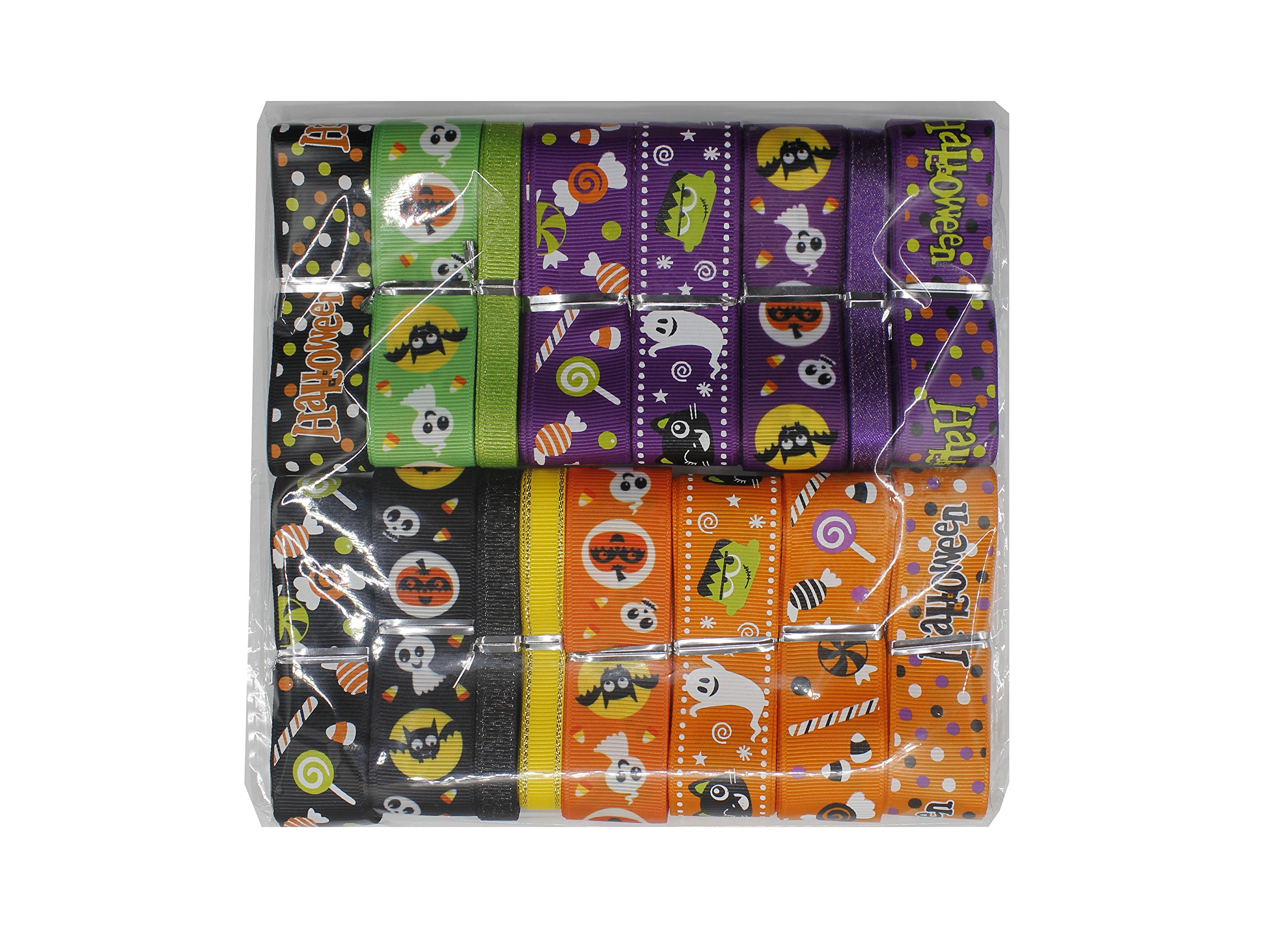 H YOUNG 32yards/lot 25mm Halloween Pattern Grosgrain Ribbon (Halloween Ribbon) by H YOUNG