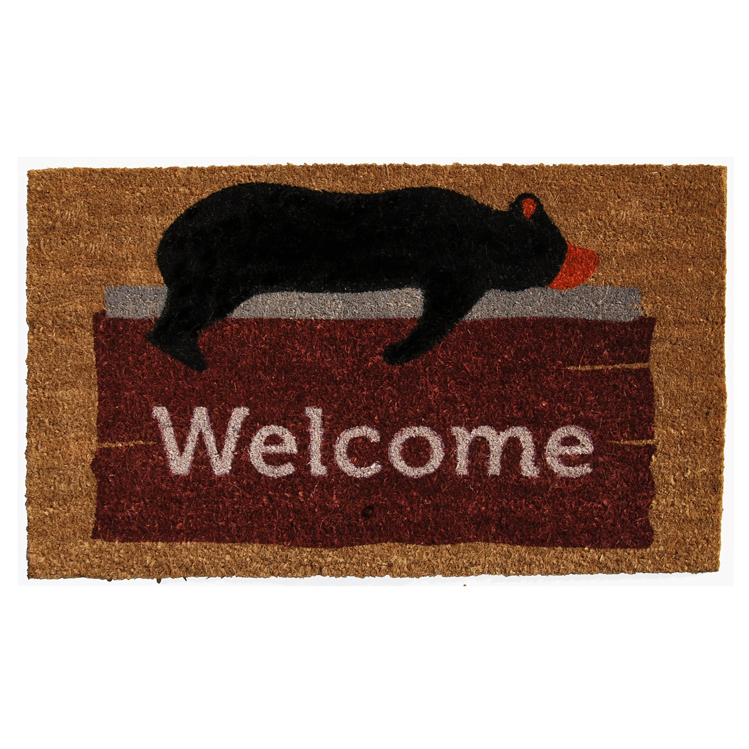 Home & More 121271729 Lazy Bear Welcome Doormat, 17'' x 29'' x 0.60'', Multicolor