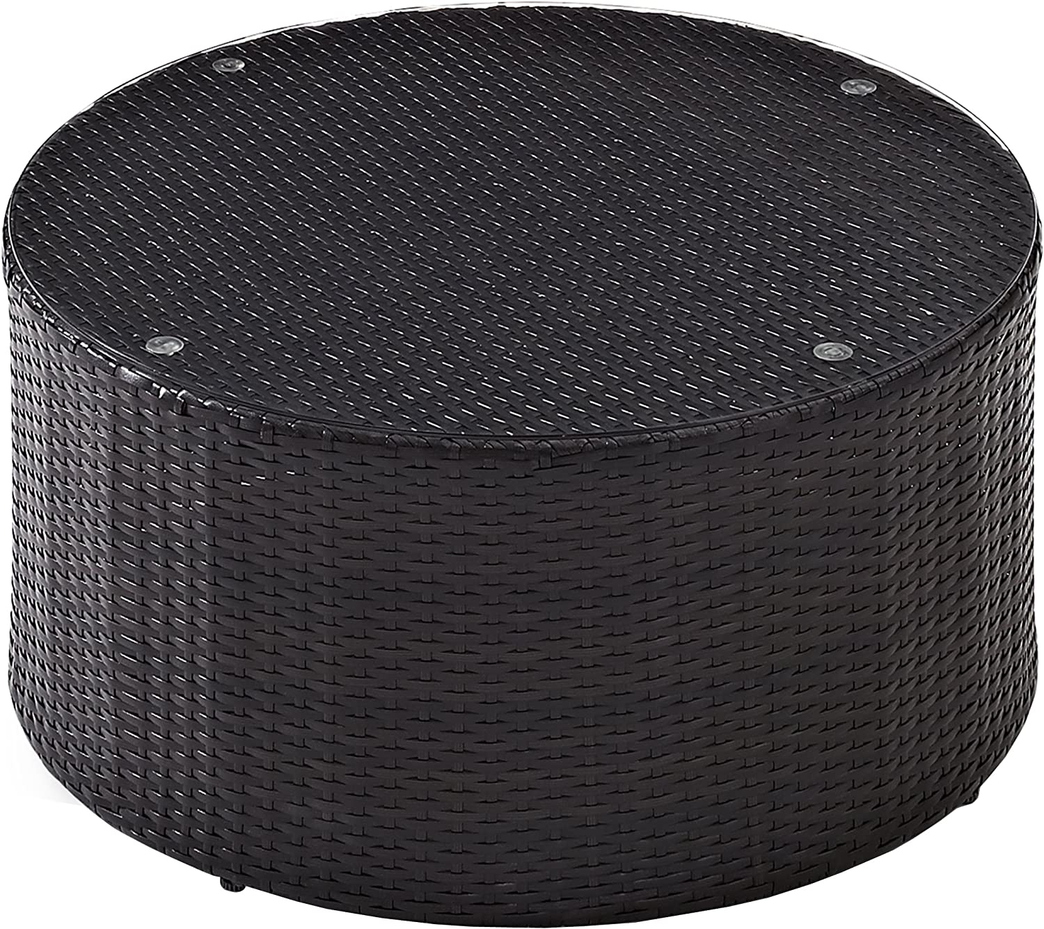 Crosley Furniture Catalina Outdoor Wicker Round Coffee Table with Glass Top - Brown