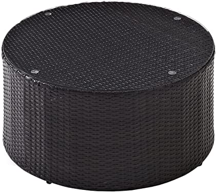 Genial Crosley Furniture Catalina Outdoor Wicker Round Coffee Table With Glass Top    Brown