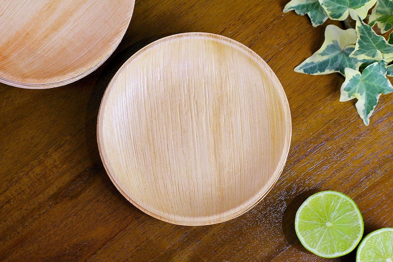 20cm Rotonda FOOGO Green 100 Piatti USA e Getta in Foglia di Palma Biodegradabili Piatti di Bamboo Come Piatti di Carta e Piatti di plastica Feste di Natale Piatti Bambu per Matrimoni