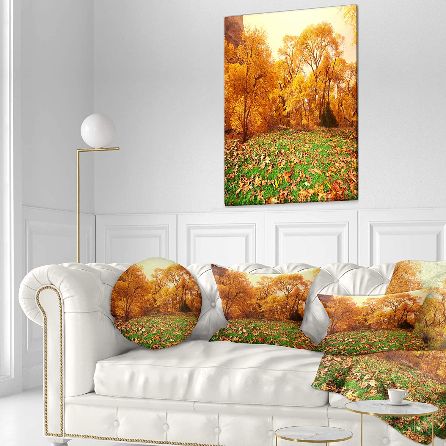 Designart CU12819-16-16-C Beautiful Autumn with Green Grass Landscape Printed Round Cushion Cover for Living Room Sofa Throw Pillow 16