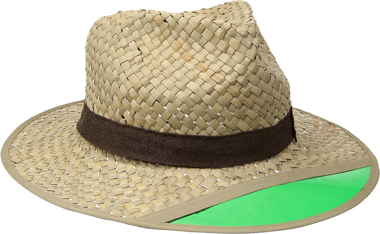 BRIXTON Mens Hunter Medium Brim Straw Fedora Hat