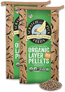 Scratch and Peck Feeds Naturally Free Organic Layer Pellet Feed with Grub Protein - 50-lbs - Non-GMO Project Verified and USDA Organic - 2024-50