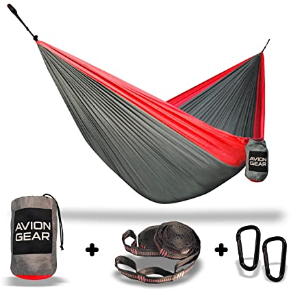 LIMITED TIME INTRODUCTORY OFFER ? Double Portable Hammock with Included Loop Lock Tree Straps - Red