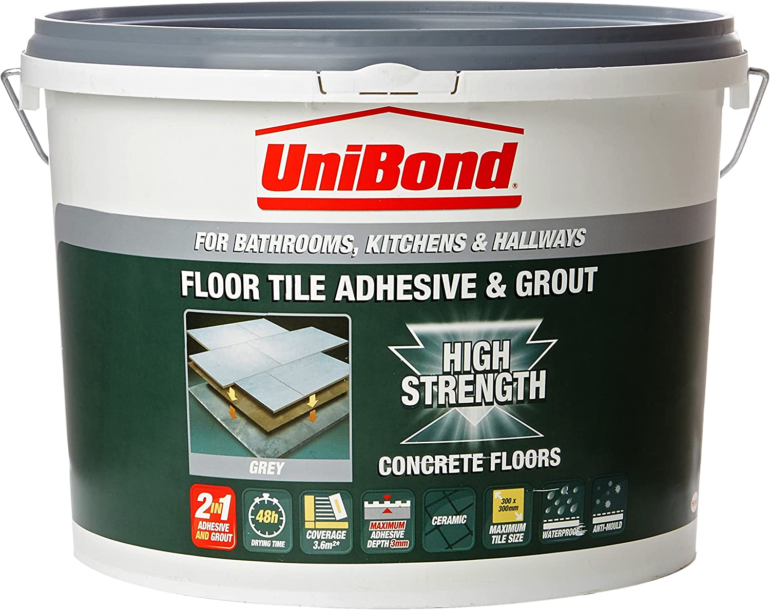 Unibond 1535347 Concrete Floor Tile Adhesive And Grout Bucket