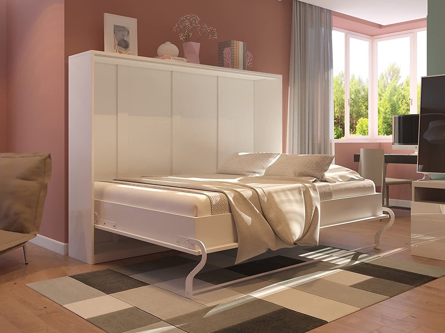 SMARTBett Wall Bed Cabinet with Integrated Folding Bed 140 x 200 cm ...