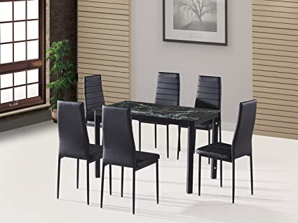 EBS 7 Piece Home Kitchen Dining Room Metal Furniture Set With Faux Marble  Glass Top Table