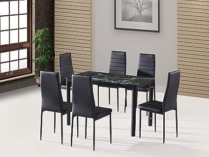 Amazoncom Ebs 7 Piece Home Kitchen Dining Room Metal Furniture