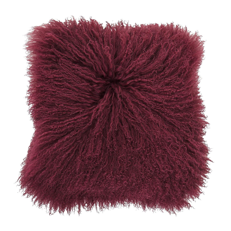 Bloomingville Cushion, ROT, Lambskin Mongolian L40xW40 cm