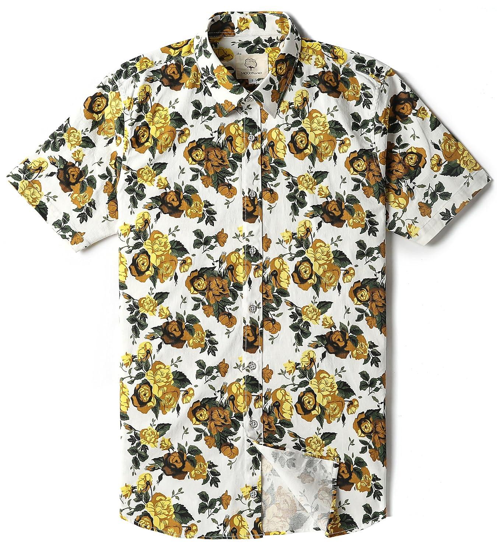 Mocotono Camisa para Hombre Color Sólido Oxford Manga Corta Botón de Abajo