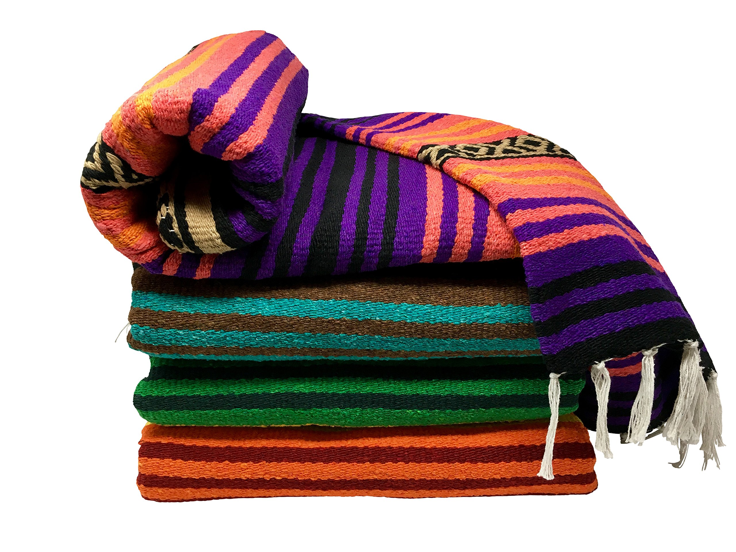 Spirit Quest Supplies Bodhi Blanket Mexican Style Throw Blanket - Falsa Blanket for Yoga, Picnics, Beach, Tapestry, Camping, More (Desert Dreams: Purple, Pink, Orange, Black, Tan)