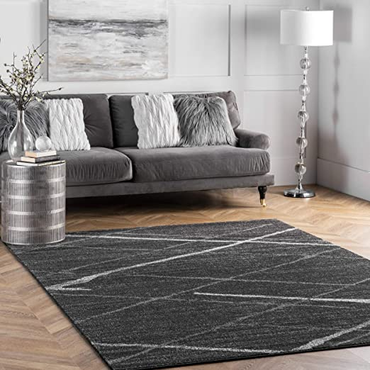 Nuloom Thigpen Contemporary Area Rug 4 X 6 Dark Grey Furniture Decor