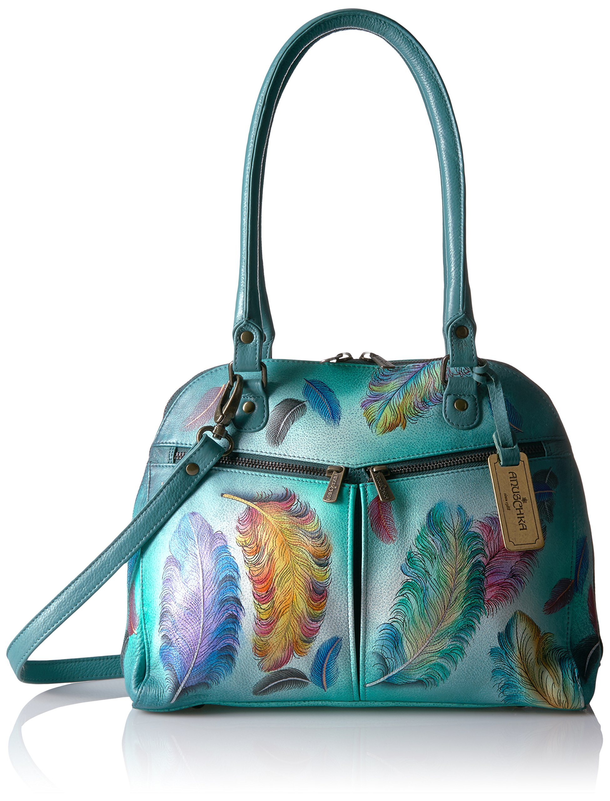 Anuschka Hand Painted Zip Around Organizer Satchel Floating Feathers, Fft-Floating Feathers