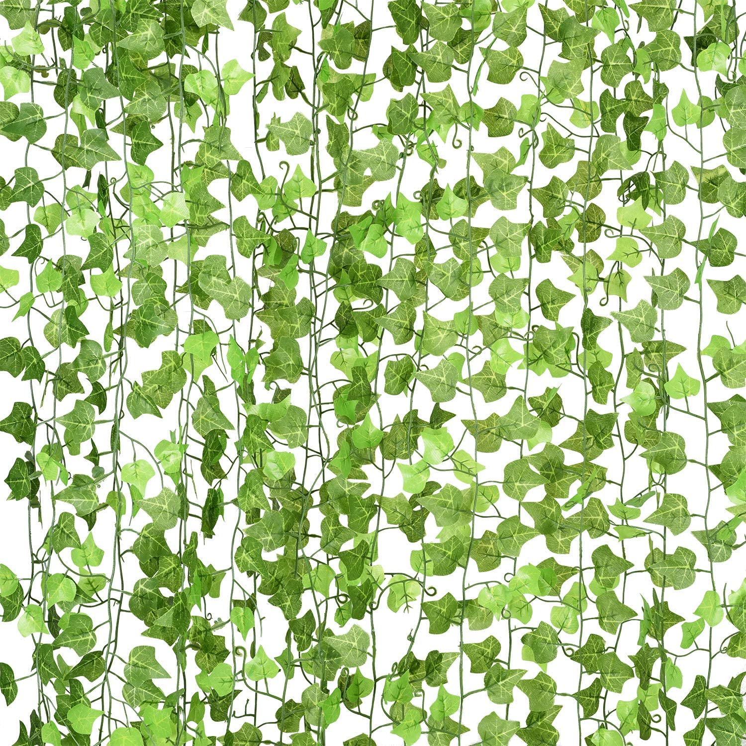 DearHouse 12 Strands Artificial Ivy Leaf Plants Vine Hanging Garland Fake Foliage Flowers Home Kitchen Garden Office Wedding Wall Decor, 91 Feet