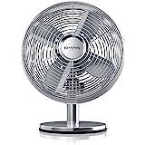 Brandson – Ventilatore da tavolo Silverline retró | 29cm diametro con 3 livelli di velocità | Oscillazione di 80 ° | Inclinazione regolabile di circa 40 ° | robusta scocca in metallo pieno | 30W | Cromata