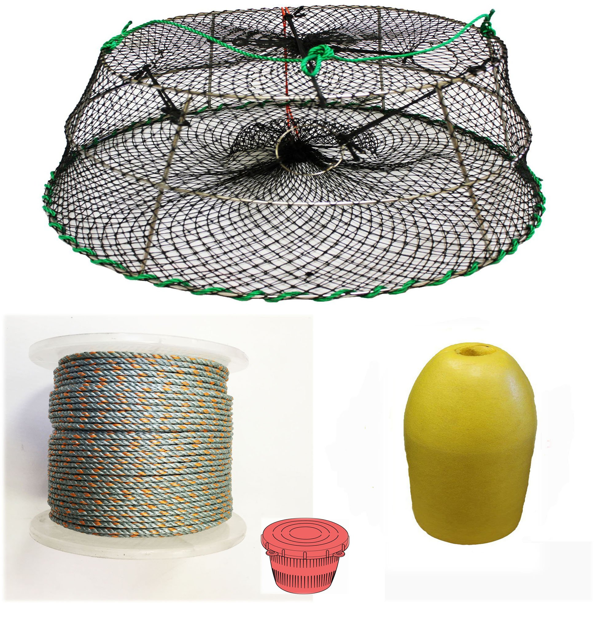 KUFA Sports Tower Style Prawn trap with 400' rope, Yellow float and Vented Bait Jar combo (CT77+PAL1)