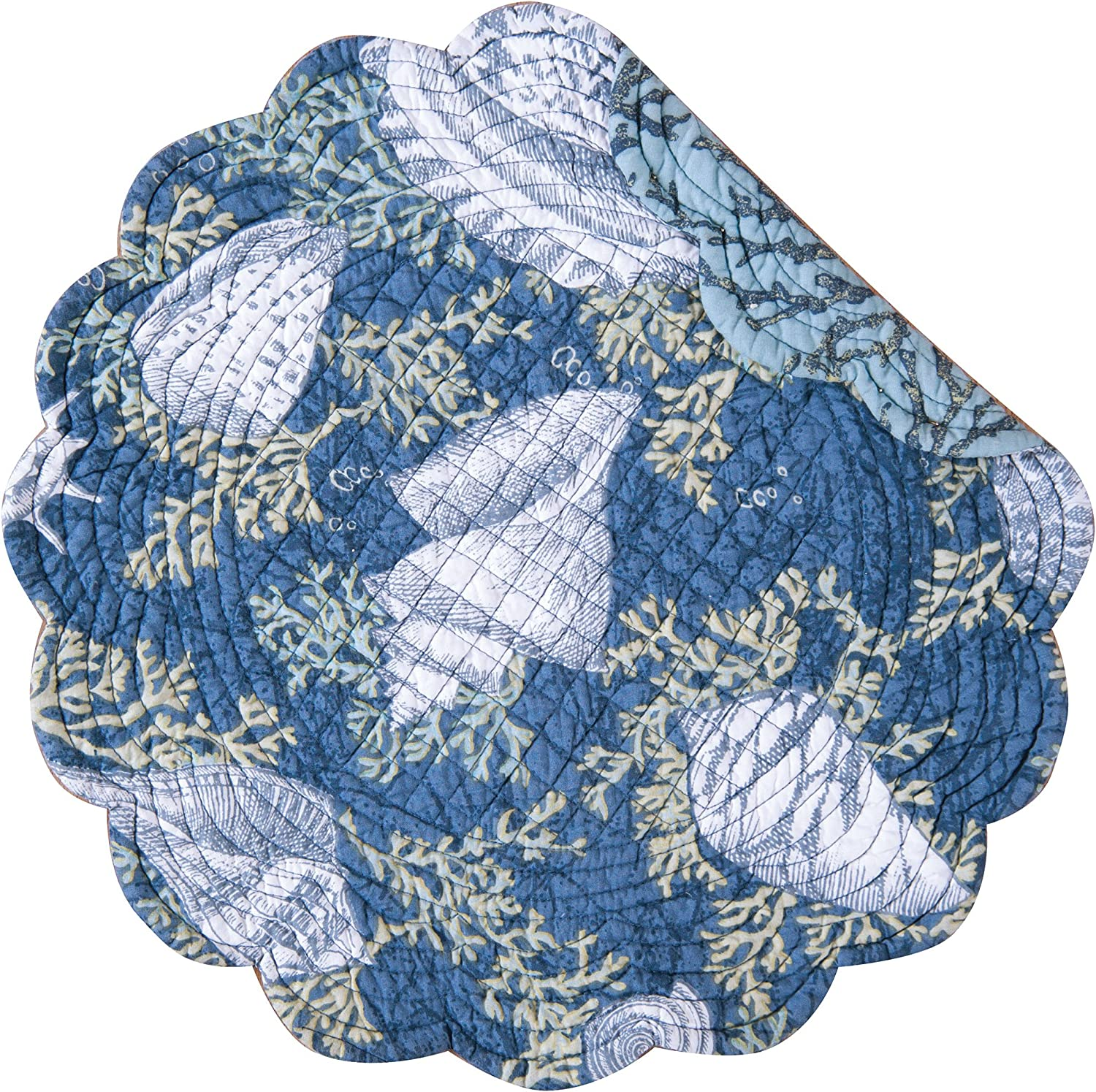 C&F Home Cape Coral Coastal Tropical Beach Round Cotton Quilted Reversible Washable Tabletop Cotton Placemat Set of 4 Round Placemat Indigo