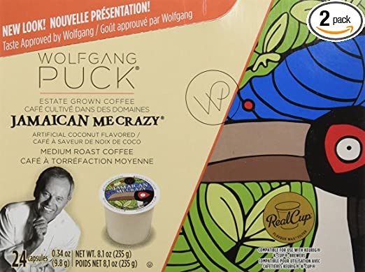 Wolfgang Puck Coffee, Jamaican Me Crazy, 24-Count K-Cups for Keurig Brewers (Pack of 2)