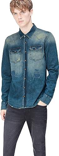 Marca Amazon - find. Camisa Vaquera Desgastada Hombre, Azul (Simeto Wash), XL, Label: XL: Amazon.es: Ropa y accesorios