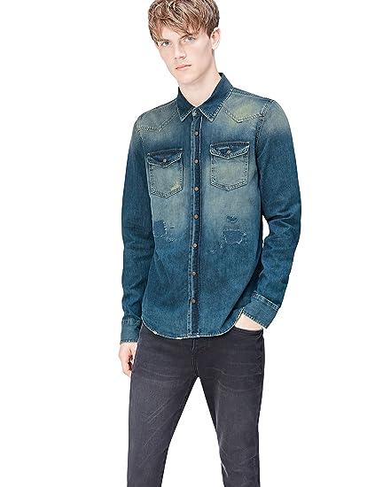 amazon marke find herren jeans hemd mit ausgebleichter waschung  bekleidung herren hemden c 21_23 #7