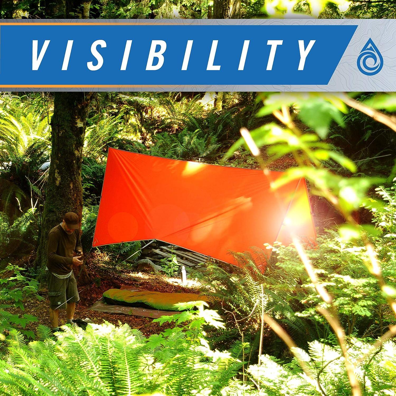 10x10 or 15x15 Orange Aqua Quest Survivor SIL Tarp Waterproof Emergency Survival Tarp Shelter