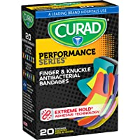 Curad Performance Series Fingertip and Knuckle Extreme Hold Fabric Bandages, 20 Count