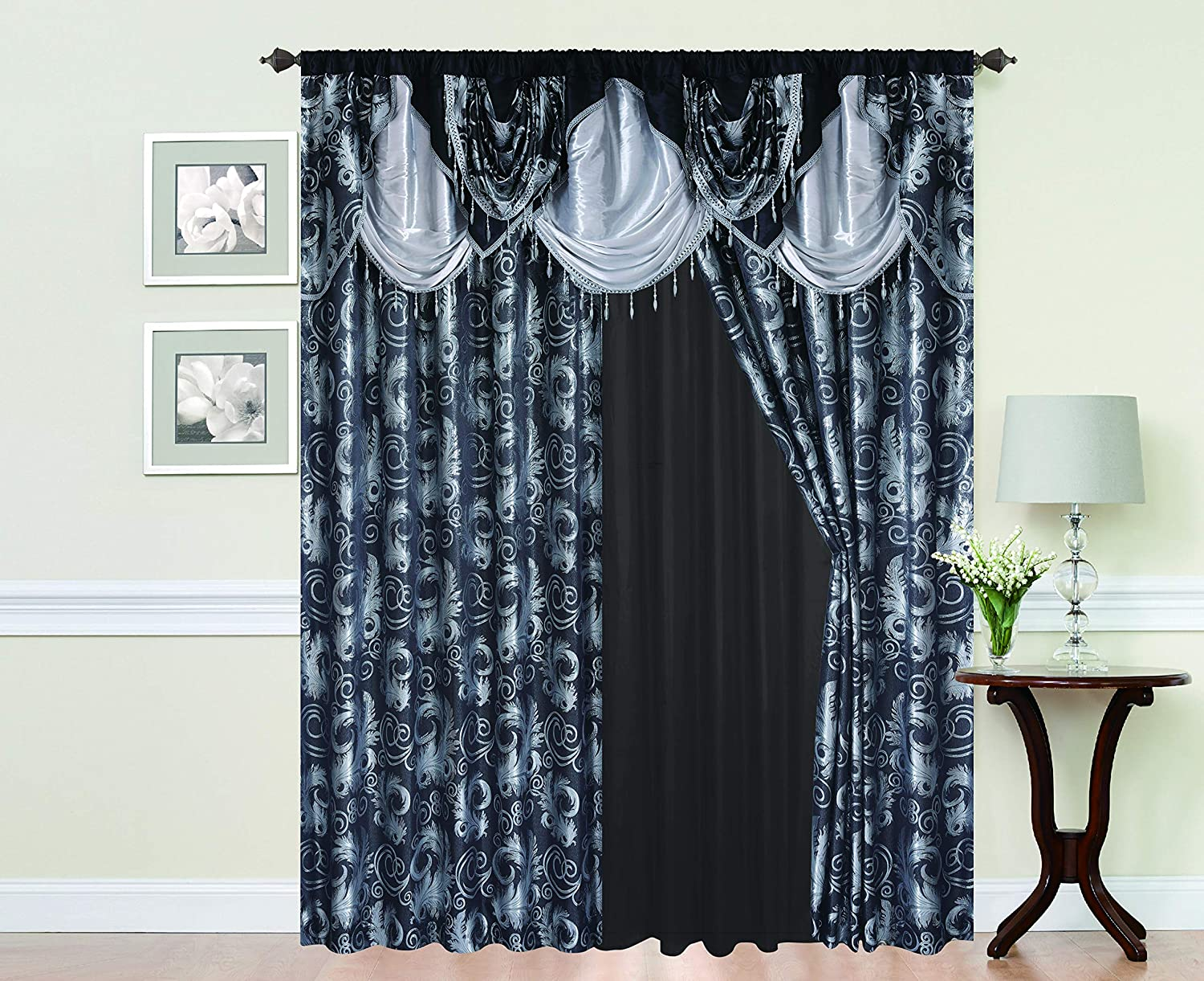 "Golden Rugs Jacquard Luxury Curtain Window Panel Set Curtain with Attached Valance and Backing Bedroom Living Room Dining 55""X84"" Each Jana Collection (Black)"