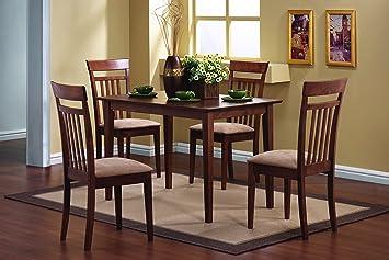 coaster 5 piece dining set in chestnut finish