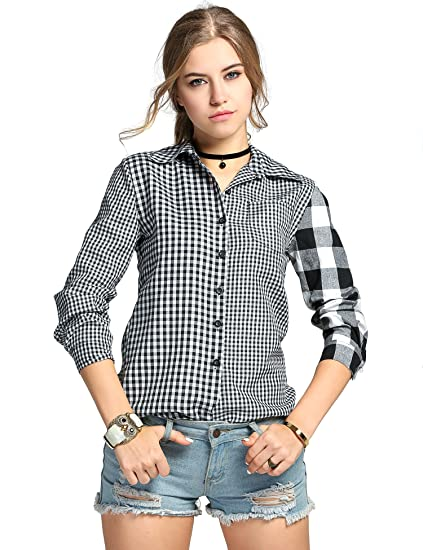 Womens Long Sleeve White Shirts Plaids Pattern Lapel Casual Blouse Tops Women's Clothing