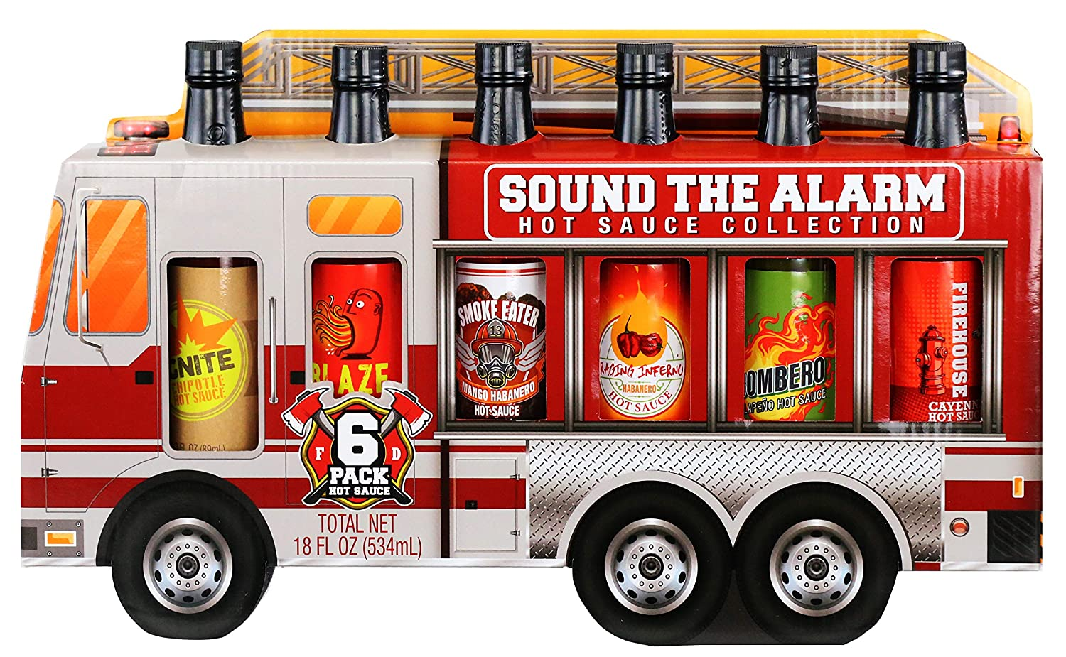 Thoughtfully Gifts, Sound the Alarm Fire Truck Hot Sauce Gift Set, Flavors Include Sweet & Spicy, Garlic Hot Sauce, Smoky Bourbon, and More, Pack of 6