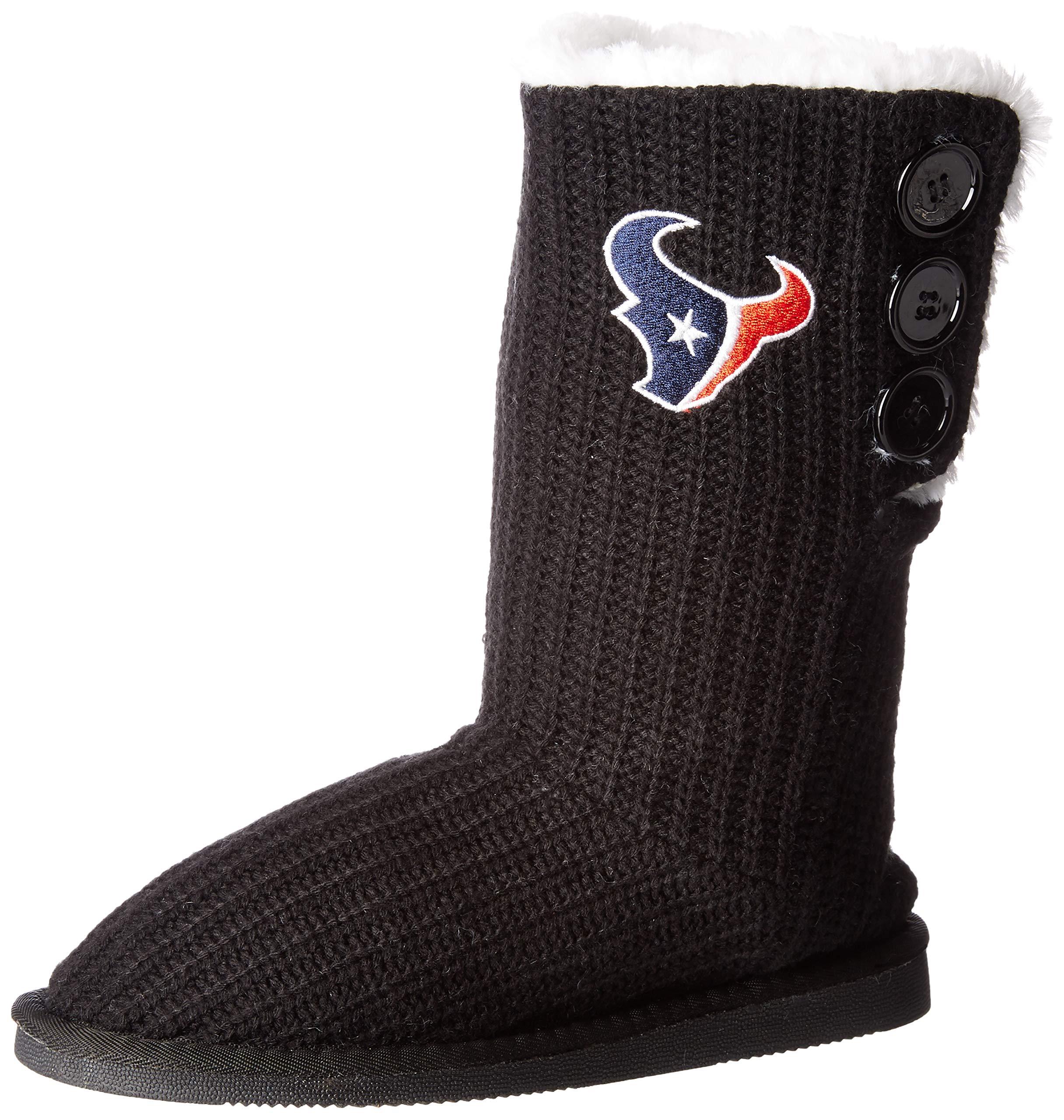 Houston Texans Knit High End Button Boot Slipper Medium