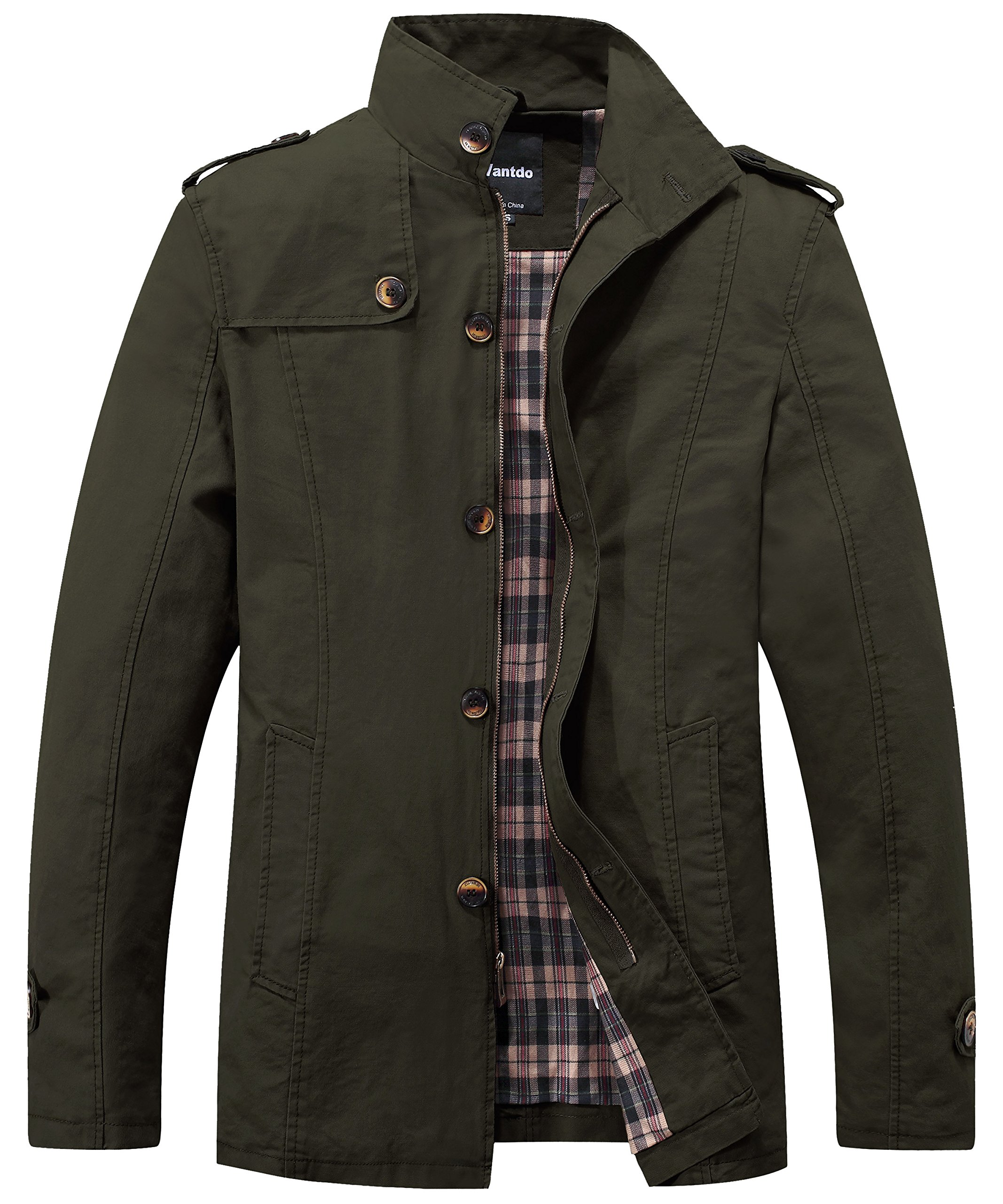 Wantdo Men's Stand Collar Cotton Classic Jacket US XX-Large Army Geen by Wantdo