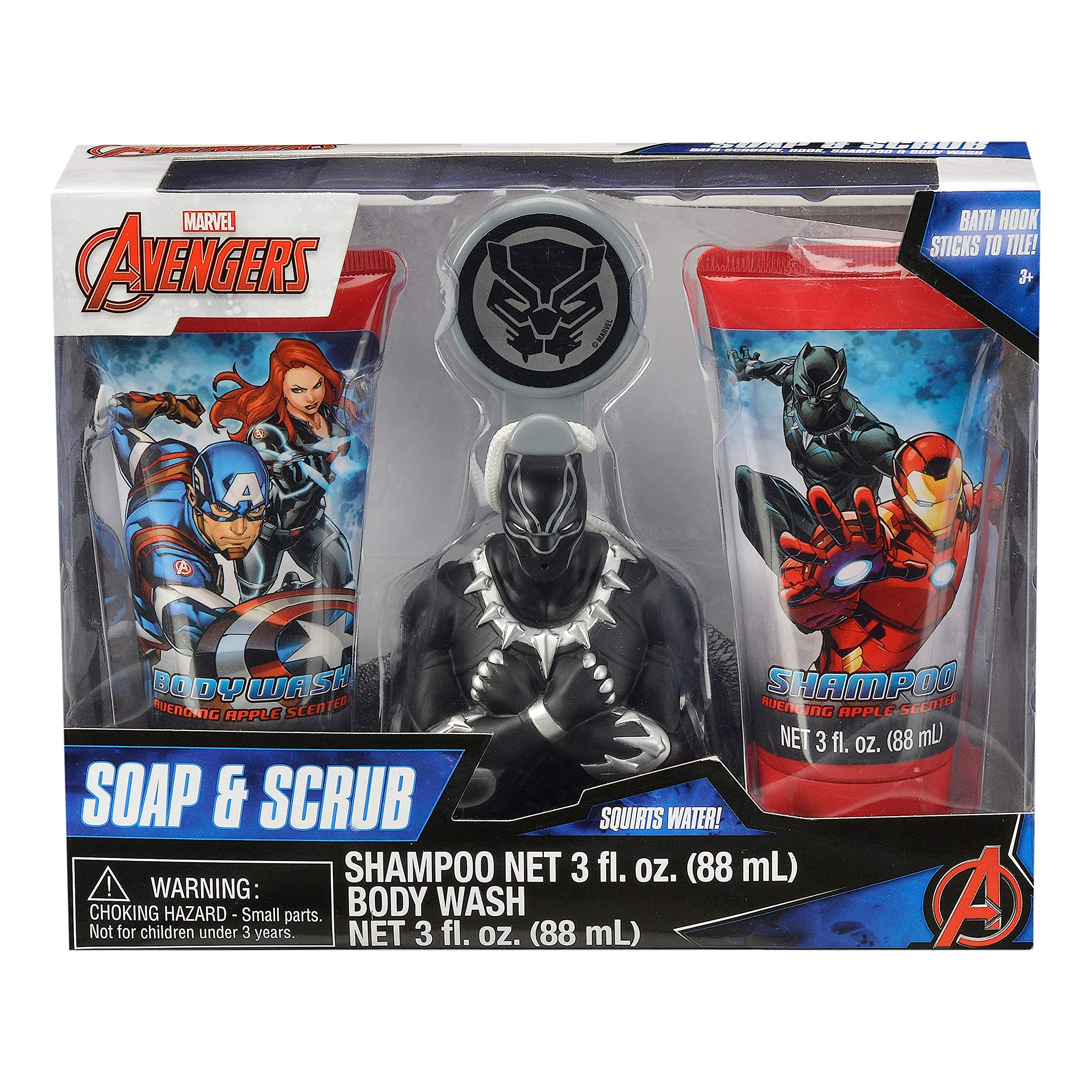 Avengers Childrens Bath Gift Set - Shampoo, Body Wash, Bath Scrubby & Hook