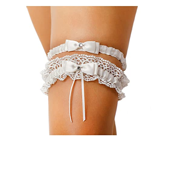 c346e31db LR Bridal Ivory Bow Tie Ribbon Style Wedding Garter Set with Rhinestone  (Set)