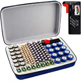 Battery Organizer Storage Box with Battery Tester (BT168), Carrying Case Bag Holder fits for 136 Batteries AA AAA 9V C D…