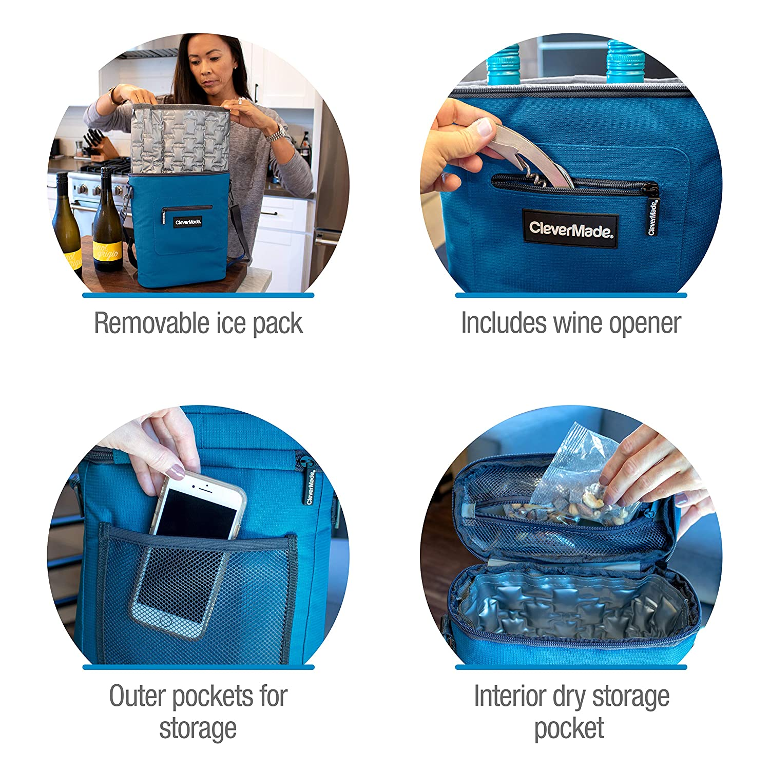 76806848a914 CleverMade Wine Bottle and 6 Pack Cooler Bag; Insulated Leakproof Tote with  Removable Ice Pack and Corkscrew Bottle Opener