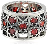 King Baby Heart Patterned Garnet Stones Ring, Size 7