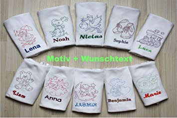 Biene//Wolke Wunschtext bestickt Baby-Spucktuch//Mullwindel mit Motiv
